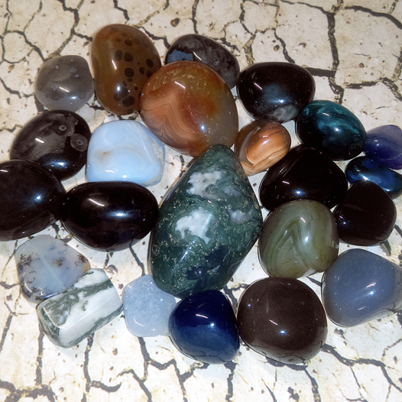 An assortment of agate stones