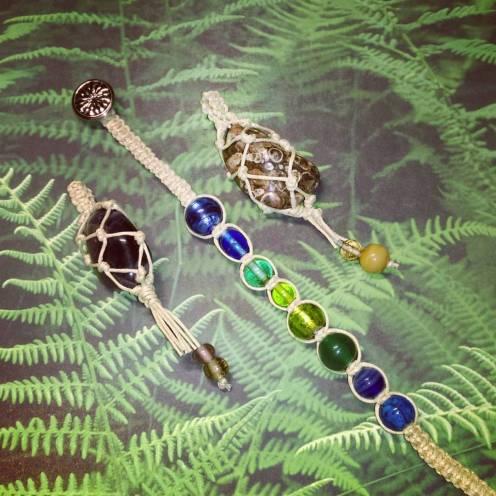 Netted pendants and glass bead bracelet.